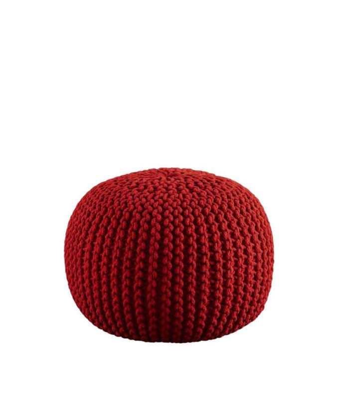 Red Knit Pouf Ottoman